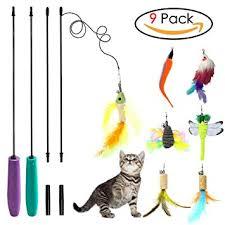 sunnysunnie cat toys interactive feather teaser wand set bird erfly dragonfly worm mouse