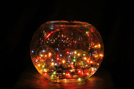 lighting a bowl. christmas lights in fish bowl lighting a y