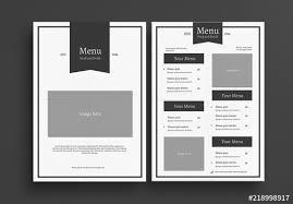 Restaurant Menus Layout Minimalist Restaurant Menu Layout Buy This Stock Template
