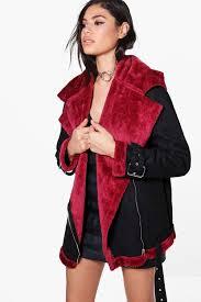 womens janice faux fur lined bonded aviator jacket sji 79971