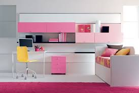 Contemporary Girl Bedroom Decorating Come With Wall Mount Cabinet And Pink  Cabinet Also White Study Desk