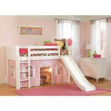 kids loft bed. Cottage White Twin Low Loft Bed With Pink And Bottom Curtain Slide Kids Loft Bed