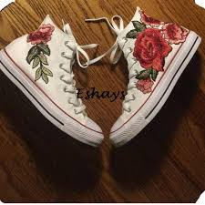 Mens Chuck Taylors Size Chart Unisex Rose Floral High Top Converse Chuck Taylors