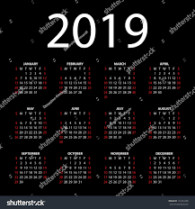 Calendar 2019 On Black Background Stock Illustration 174254798