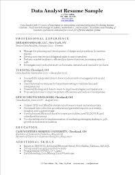 Microsoft Excel Resume Template Data Analyst Curriculum Vitae Templates At