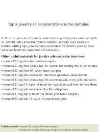 Retail Associate Resume Top 8 Jewelry Sales Associate Resume Samples