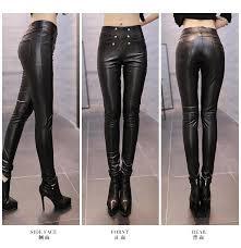pu leather pants women winter trousers female high waist elastic skinny fleece stretch slim women pencil pants