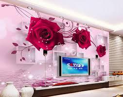 3d Behang Bloem Rood Rose Reflectie Mural 3d Wallpaper 3d Muur