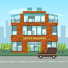 exterior office. Modern Office Building In Cartoon Flat Style. Interior And Exterior,  Inside Outside Exterior F