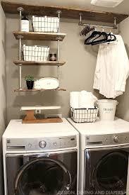 small laundry room organization industrial shelving