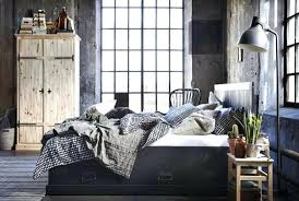 Modern Industrial Bedroom Furniture Industrial Bedroom With Brown Grey  Comfort Bed Feat Blue Pillow Near Black