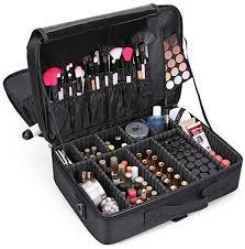 large capacity makeup case 3 layers cosmetic organizer brush bag makeup train case makeup artist box for hair curler hair straightener brush set and