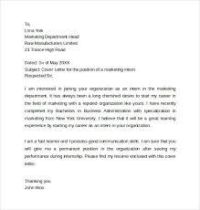Cover Letter For Marketing Internship Marketing Internship Cover