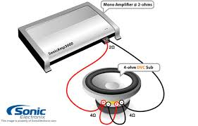 subwoofer wiring diagrams sonic electronix one dual 4 ohm sub 2 ohm mono amp see diagram