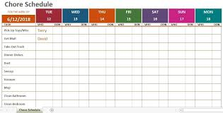 Free Monthly Chore Chart Template Weekly Chore Calendar Template Exceltemplate Regarding