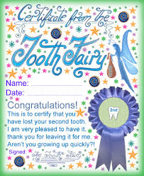 free tooth fairy certificate award for losing your second tooth