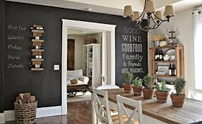 unique chalkboard ideas for english country kitchen decor with rustic copper chandelier and nice potted vases