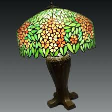 leaded and stained glass table lamp circa early c free runner pattern