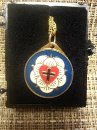 luther rose pendant necklace enameled brass lutheran necklace