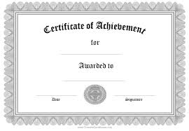 templates for certificates of completion printable achievement certificate template