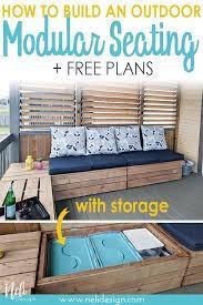 diy outdoor modular bench with storage