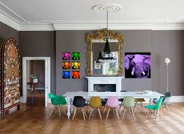 colorful chairs for table of 12 person dining room with flat white table and black white