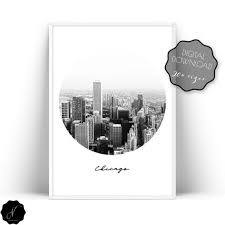chicago city printable wall art modern urban print chicago city poster able print