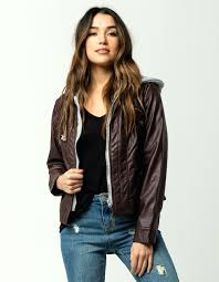 jou faux leather jacket fur lined hooded