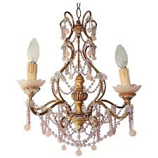 french pink opaline beads and drops chandelier for