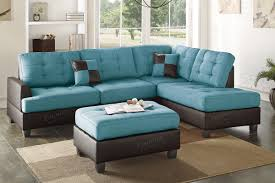 ancel blue leather sectional sofa and ottoman