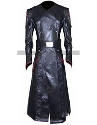 captain america avenger red skull black leather costume coat