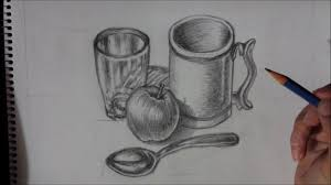 kitchen utensils drawing. Still Life Drawing Tutorial: Kitchen Utensils And Apple