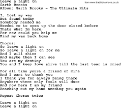 Light On Lyrics Leave A Light On By Garth Brooks Lyrics
