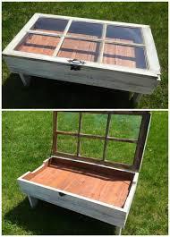 diy wood pallet window coffee table