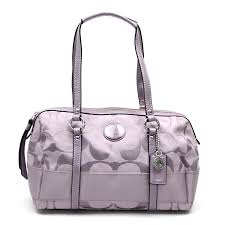 brandvalue coach coach bag signature stripe zip satchell light purple system canvas x patent leather handbag lady s f19563 v39241 rakuten global market