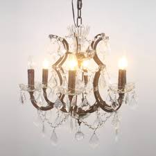 vintage lodge style six lights crystal chandelier