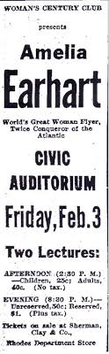 amelia earhart speaks at seattle s civic auditorium under  advertisement for w s century club presentation of amelia earhart seattle
