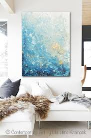 blue white and gold wall art
