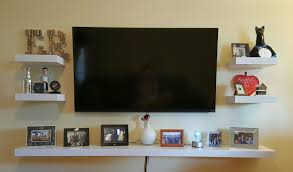 ... Wall Units, Wall Mounted TV Decor Floating Shelves Make The Entire Wall  A Focal Point ...