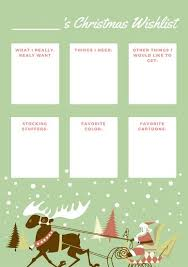 Green With Santa And Reindeer Christmas Wish List Templates By Canva