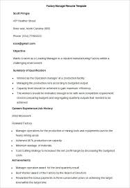 Manufacturing Resume Template 40 Free Samples Examples Format Fascinating Resume For Factory Worker