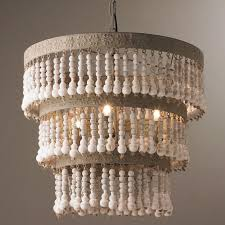 three tiered wood beaded chandelier distressed wood beads