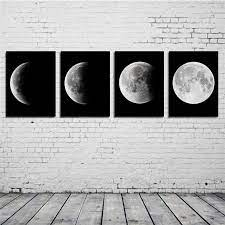 moon phase canvas prints set of four