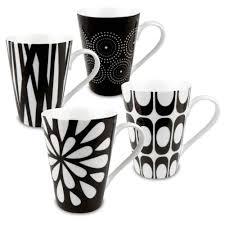 Konitz 'Assorted Design' Black/ White Porcelain Mugs (Set of 4) - Free  Shipping On Orders Over $45 - Overstock.com - 15000791