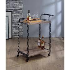 acme furniture jo rustic oak black serving cart