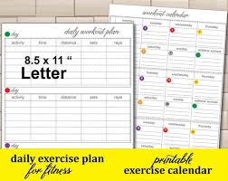 Daily Workout Journal Workout Journal Daily Exercise Tracker 21 Day Exercise Calendar Workout Log Easy To Use Fitness Planner Instant Download