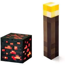 Minecraft Light Up Torch Uk Thinkgeek Minecraft Light Up Torch And Redstone Ore Set