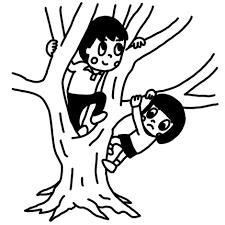 木登りをして遊ぶ子どものイラスト 白黒ヤギさん フリー素材イラスト
