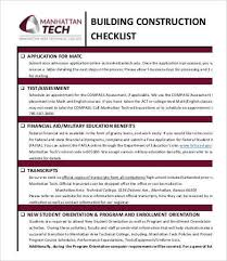 Sample College Checklist Delectable 44 Construction Checklist Samples And Templates PDF Sample