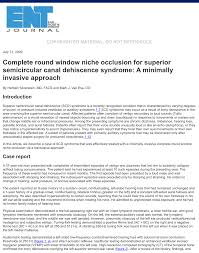pdf complete round window niche occlusion for superior semicircular c dehiscence syndrome a minimally invasive approach